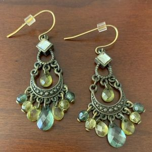 1928 Antiqued Bronze and Green Chandelier Earrings
